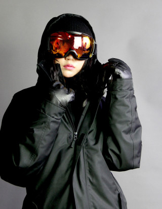VAXPOT スノーボード ウェア(ブラックコーデ)×ゴーグル(レッドREVO)